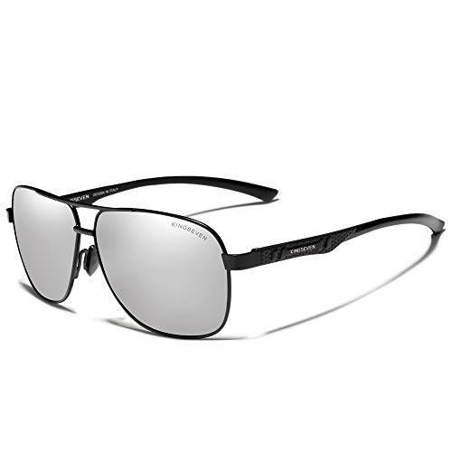 KINGSEVEN 2019 Brand Men's Sunglasses Polarized UV400 Al-Mg Ultra Light (Black Silver) (Best Polarized Sunglasses 2019)