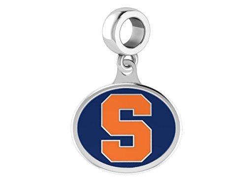 Kera Silver Enamel - College Jewelry Syracuse University Orange Sterling Silver Enamel Drop Charm Fits All European Style Charm Bracelets