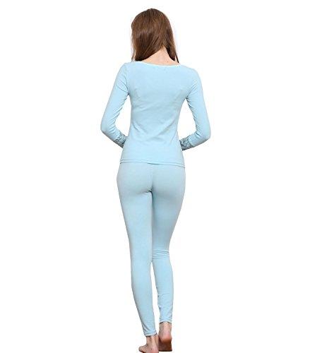 Damen Seamless Thermo Unterwäsche Set Langarmshirt und Leggings mit Spitze