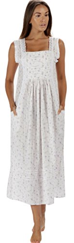 The 1 for U 100% Cotton Long Nightgown with Pockets XS-3X Rebecca (XXXL, Lilac Rose)