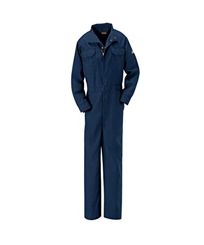 Bulwark CLB7NV-RG-L Women's Premium Flame Resistant Coverall, CAT 2, Large, Navy Blue