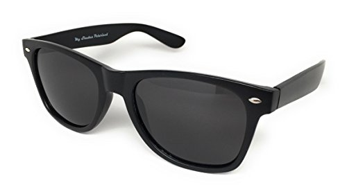 WebDeals - Sunglasses Classic 80s Style Assorted Color Frames and Lenses (My Shades Black Gloss Polarized, Smoke)