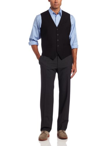 Suit Black Solid Mens (Perry Ellis Men's Big-Tall P V Solid Vest, Black, 4X)