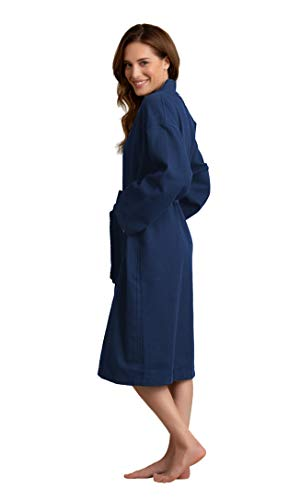Women's Robe, 100% Turkish Cotton Long Waffle Spa Bathrobe, Diamond Pattern (Small, Navy)