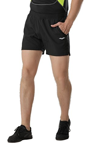 MIER Mens 5 Running Shorts Quick Dry Lightweight Workout Track Shorts with Pockets, No Liner, Black, S