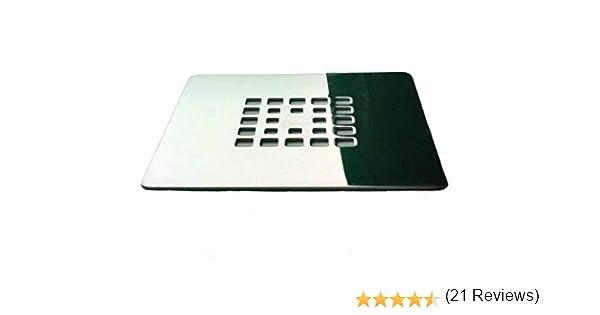 Rejilla cuadrada de 12,5 X 12,5 cm en acero inoxidable para platos de ducha de resina,pizarra,mármol,piedra: Amazon ...