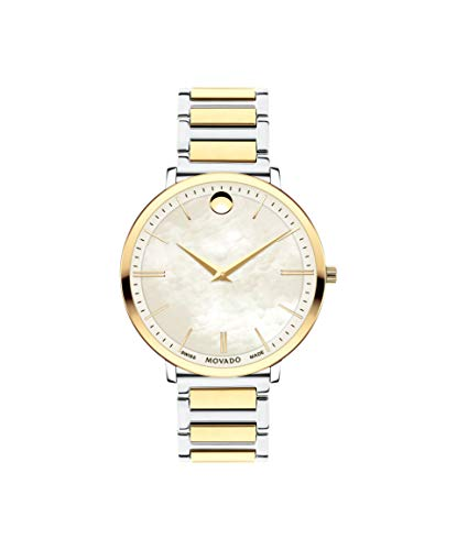 Movado Ultra Slim, Stainless Steel & Yellow Gold PVD Case, White Mother of Pearl Dial, Stainless Steel & Yellow Gold PVD Bracelet, Women, 0607171