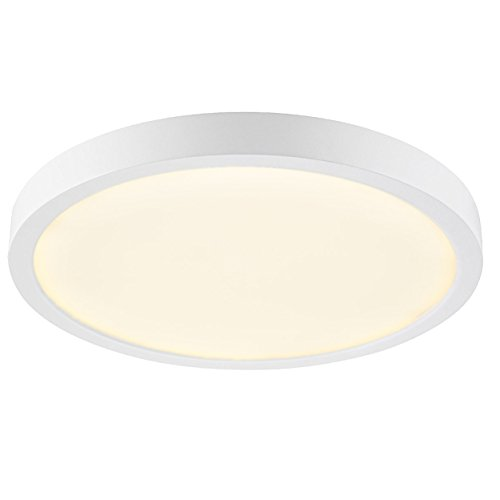 GetInLight Round 10-inch Dimmable Flush Mount Ceiling Fixture, (2nd Generation), 17 Watt, White Finish, 3000K Soft White, 100W Replacement, Damp Location Rated, ETL Listed, IN-0306-3-WH (Round Ceiling Fixture)