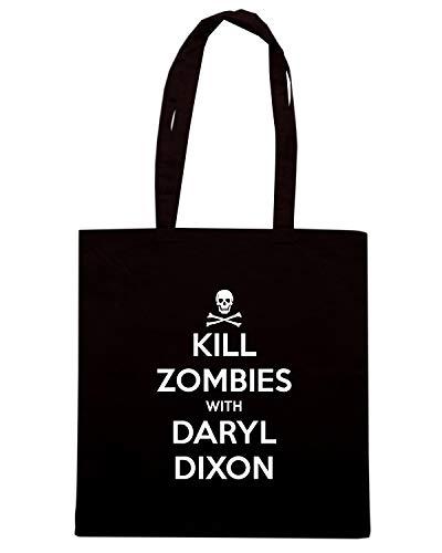 Speed Shirt Borsa Shopper Nera TKC0203 KEEP CALM AND KILL ZOMBIES WITH DARYL DIXON