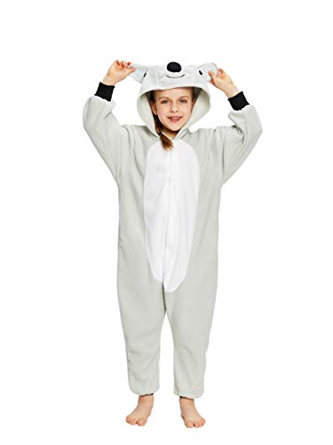 NEWCOSPLAY Unisex Children Gray Koala Pyjamas Halloween Costume (10-Height 56-59
