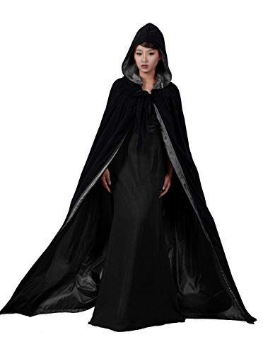 Black Halloween Grim Reaper Hood Cloak Witch Medieval Cape Robe Cosplay Costumes -