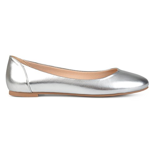 Womens Flats Silver Comfort Toe Co Leather Faux Round Sole Brinley fz5H8