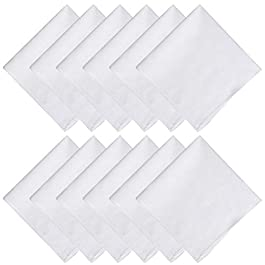 15 Pieces White Handkerchief, 100% 60S Cotton 30X30cm Women's Handkerchiefs