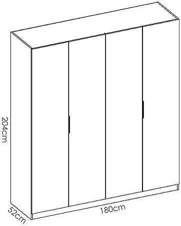 HABITMOBEL Armario Juvenil 4 Puertas abatibles 180cm de Ancho Alto 204cm Blanco Brillo