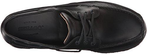 Sebago Mens Vershire Trois Yeux Bateau Chaussure Noir Huilé Cireux En Cuir