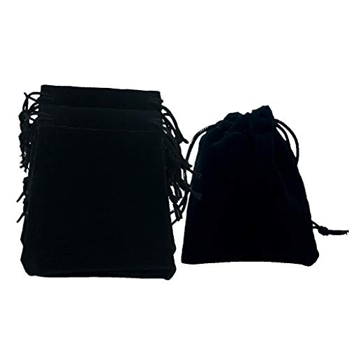50pcs Glossy Velvet Jewelry Drawstring Gift Bag Pouches Wedding Birthday Favor |Color - Black|