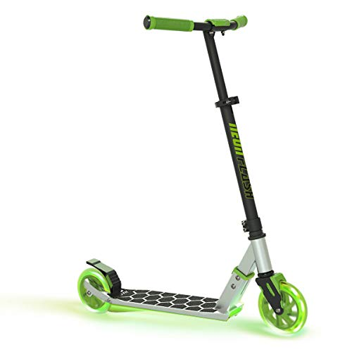 Neon Flash Kids Scooter with LED Lights | Light Up Deck & Wheels Kick Scooter