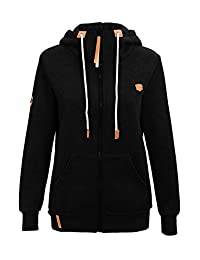 Les umes Womens Hooded Full Zip Up High Neck Fleece Lined Chunky Pocket Plus Size Hoodies Coat Tops Jacket