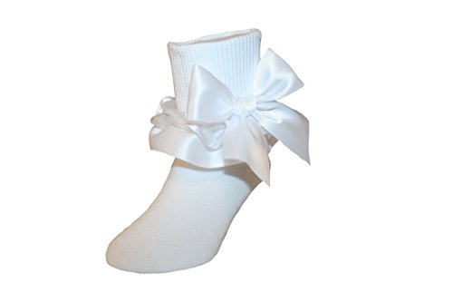 (Girls Ruffle Ankle Socks with Satin Organza & Bows in Assorted Colors (8-9.5 Girls, White))
