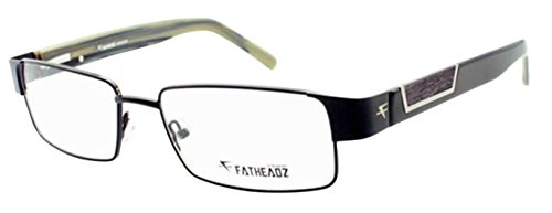 Fatheadz Amplitude XL FH00186 Mens Extra Large Rectangular Black Glasses (Black, - Extra Eyeglass Frames Large
