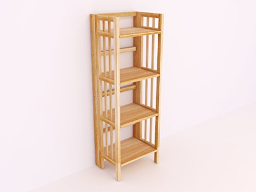 Cheap  Amayo Home Solid Wood Folding Bookcase Ladder Shelf Standing Bookshelf in Natural..