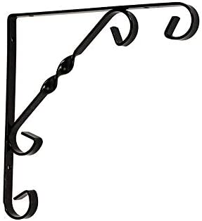 棚受け金具 アイアンブラケット 家や庭園6PCシェルフブラケットトライアングルシェルフでサポートさ 棚 支え (Color : Black, Size : L)
