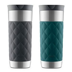 Ello Parson Vacuum Stainless Steel Travel Mug with Leak-Proof 360 Degree Lid, 16 Oz. (Black & - Outlet Ellos