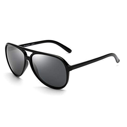 JIM HALO Polarized Aviator Sunglasses Men Women Oversize Plastic Driving Glasses (Black Frame/Polarized Grey Lens)