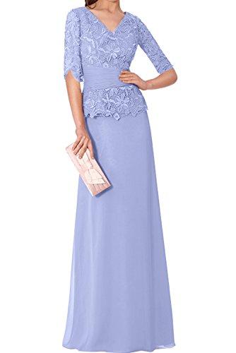 Spitze Halbarm Abendkleider Chiffon Lavender Wertvoll Partykleider V Neu Mutterkleider Ivydressing Neck U1FI1a