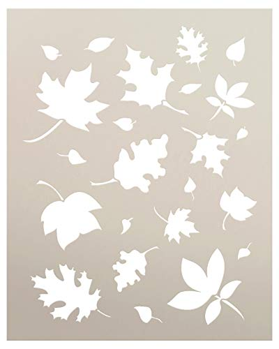 Autumn Leaves Templates - Harvest Stencil - Fall Leaves Stencil | Autumn Art Reusable Mylar Template | Painting, Chalk, Mixed Media | Use for Crafting, DIY Home Decor | Select Size (12