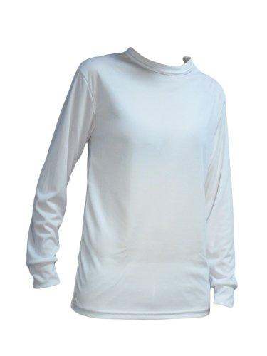 KENYON Women's Silk Weight Thermal Crew Top, White, Medium
