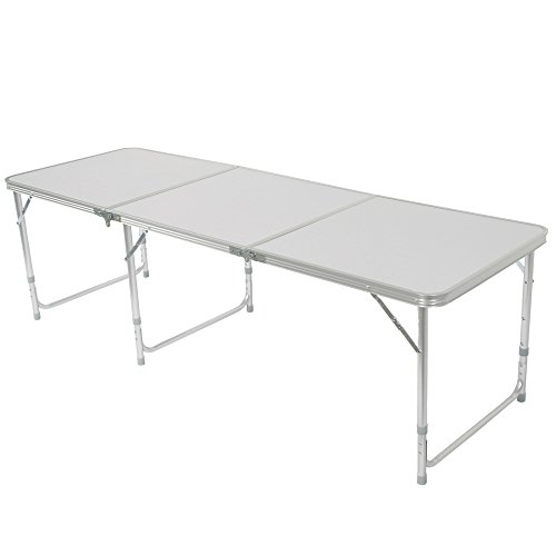 Z ZTDM Aluminum Alloy 3-Fold Camping Table, Folding as a Carry Bag Adjustable Height Light Weight & Stability, Outstanding Length 71