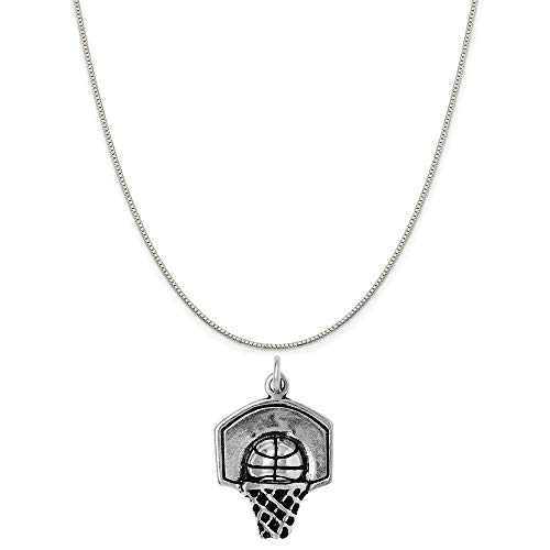 Raposa Elegance Sterling Silver Basketball Hoop Charm on a Sterling Silver 18