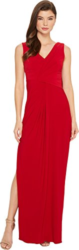 n's V-Neck Dreaped Jersey Gown Cardinal 8 (Twist Detail Jersey Dress)