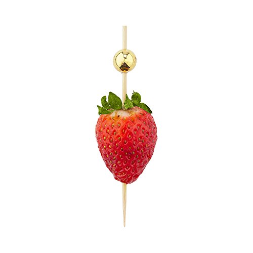Gold Sphere Pick, Acrylic Gold Ball Skewers, Food Picks, Sticks - 4'' - Perfect for Serving Appetizers and Cocktail Garnishes - Natural Color - 1000ct - Restaurantware by Restaurantware (Image #6)