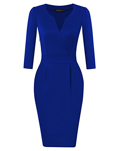 blue work dress - 5