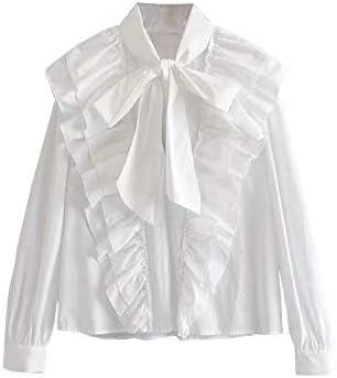 NIRANGWOZ Camisa Blanca con Volantes para Mujer, Manga Larga De Algodón, Color Sólido, Pajarita, Escote, Oficina, Monos para Mujer: Amazon.es: Hogar