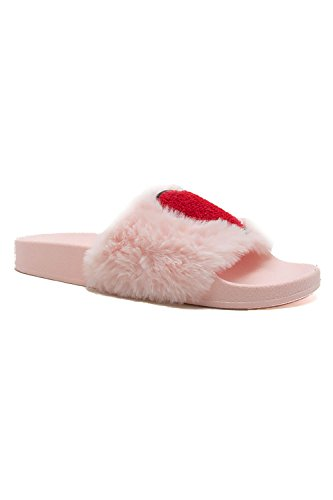 Womens Point Red Heart Fur Slipper Comfortable Lightweight Shoes Booboo-50 Pink TEeS7