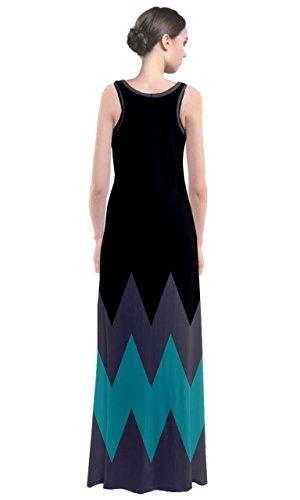 CowCow Damen Kleid Blau Stahlblau Gr. XXL, Black and Turquoise