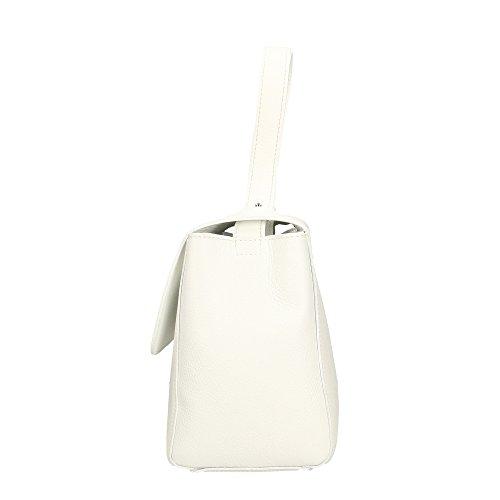 Aren In Italy30x22x14 Donna A Mano Made Vera Bianco Handbag Borsa Da Cm Pelle 4RL5Aj