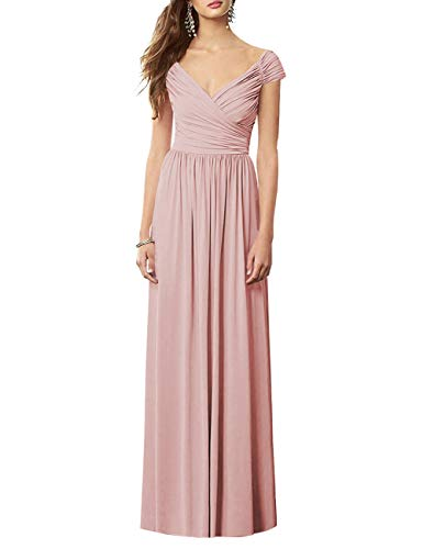- Cdress Bridesmaid Dress Evening Prom Gowns Off Shoulder Long Chiffon Pleated V Neck Dusty Rose US 10