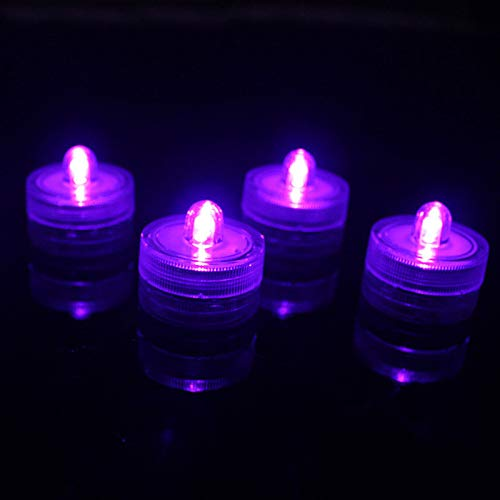 Qike 12pcs/Lot Waterproof Candle Lights,Rotary Switch LED Submersible Candle Electronic Flashing Light Wedding Party Decoration Supplies -