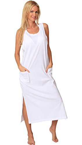 Ingear Cotton Dress Long Casual Beach Summer Tank Print Tee Cover Up Plus Size (X-Large, White)