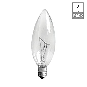 Candle Base Light Bulbs: GE Candelabra Base Light Bulb, 40 Watts, (Pack Of 2),Lighting