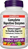 Webber naturals complete digestive enzymes capsules, 180 Count