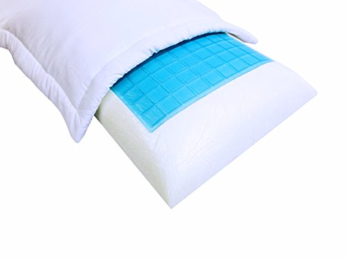 2 Pack White Standard / Queen Solid Cooling Memory foam Bed Pillow with White Cover Cases + Down Alternative Filled (Standard Solid Foam)