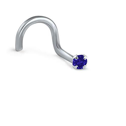 Titanium Right Nostril Screw Nose Ring 1.5mm Round Stone Navy Blue 20G