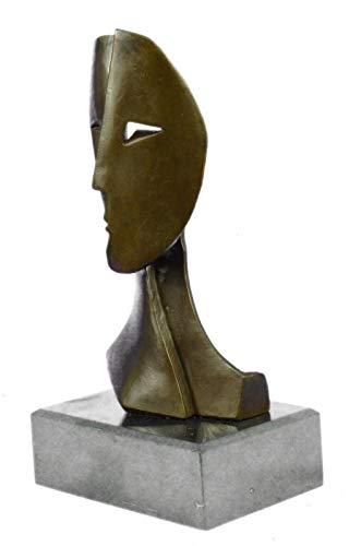 Stunning Bronze Sculpture Depicting Two Faces Mask by Picasso Art Deco Modern Sculpture ()