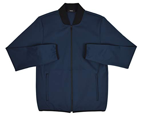 Theory Men's Steath Full Zip Ascent Double Knit Lightweight Bomber Jacket Navy Blue (Medium) ()