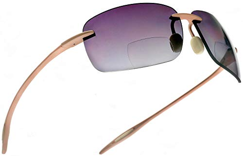 Maui Sports Navigator Bifocal Sun Readers Sunglasses for Men and Women Ultra Flex TR90 Pink ()